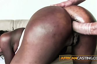 African Ebony's First Interracial Casting Compilation