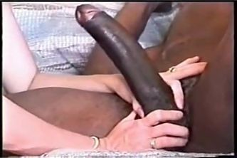 his wife tries to shove that 10 inch black dick into her pussy