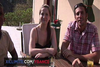 Interracial threesome with young brunette